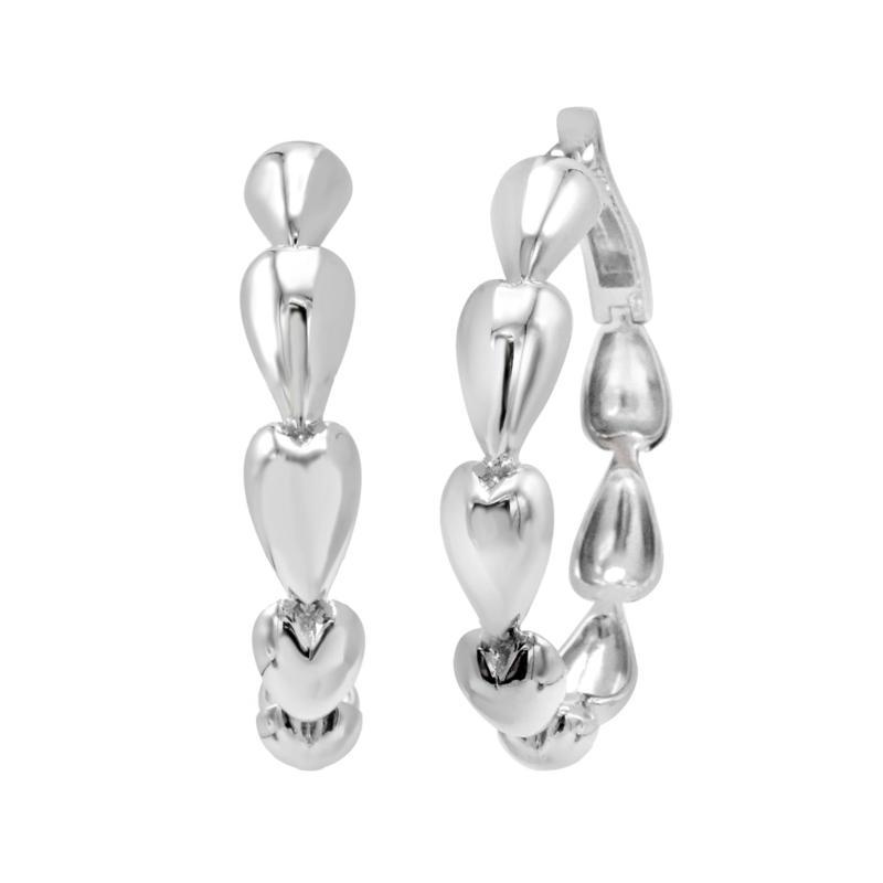 Margo Manhattan Rayn Sterling Silver Heart-Design Hoop Earrings