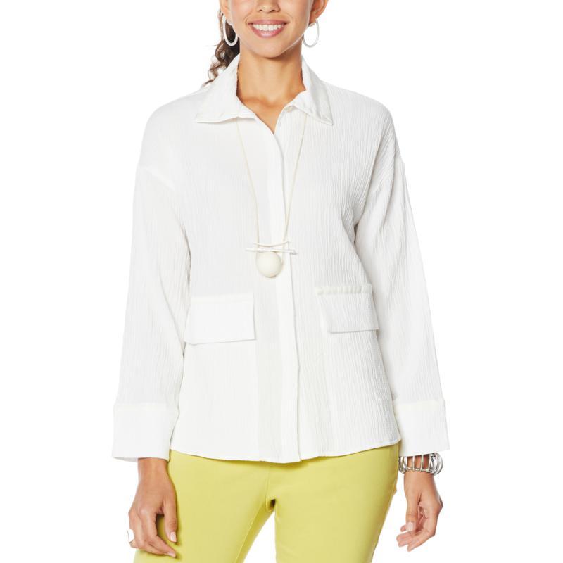 MarlaWynne Crinkle Jacquard Shirt Jacket