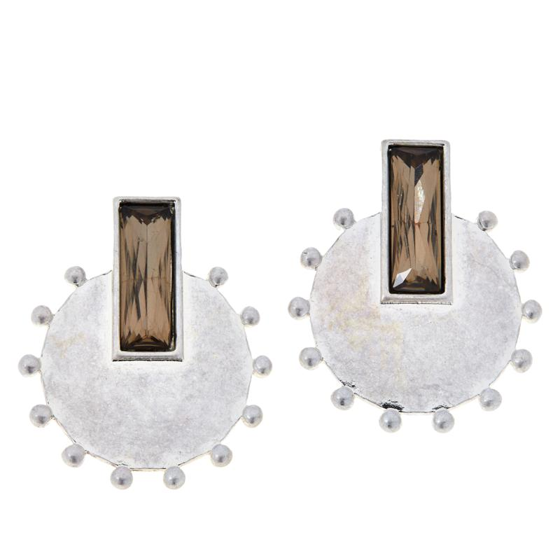 MarlaWynne Rectangular Crystal Circle Drop Earrings