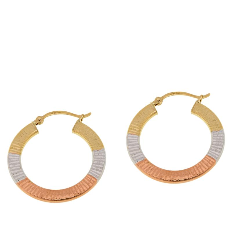 Michael Anthony Jewelry® 10K Tri-Color Flat Hoop Earrings