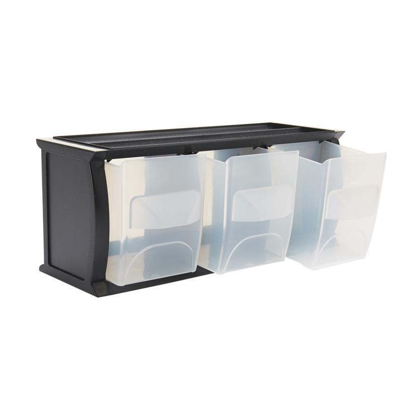 Mind Reader 3-Bin Stackable Plastic Organizer