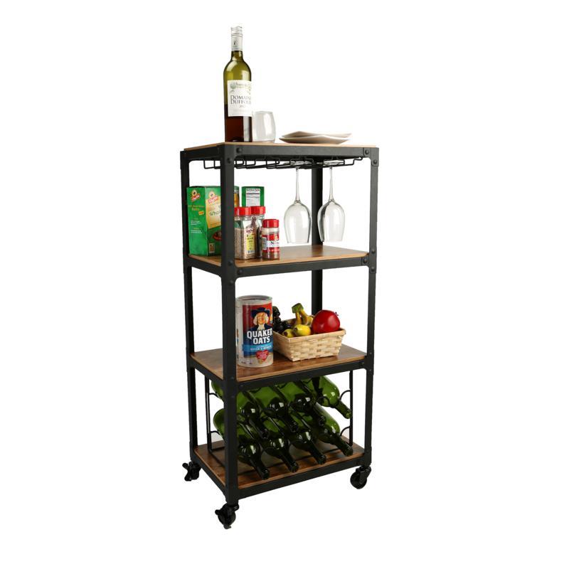 Mind Reader 4-Tier Wood and Metal Cart with Wine Rack - Black