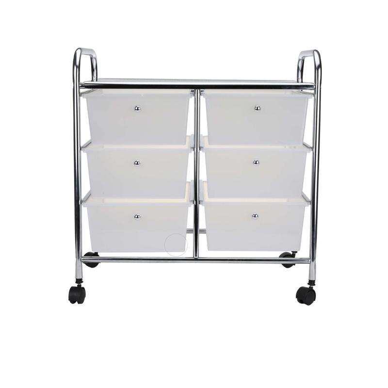 Mind Reader 6-Drawer Rolling Utility Organizer Cart - White/Silver