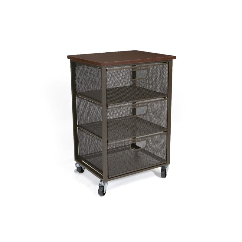 Mind Reader Rolling Storage Cart with 3 Drawers