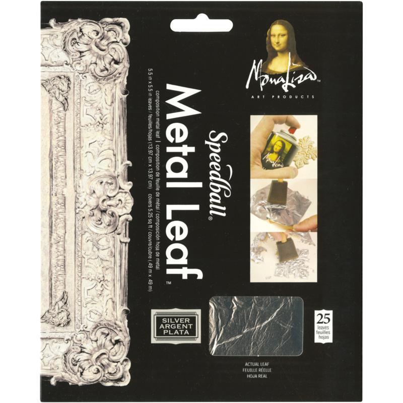 Mona Lisa Metal Leaf Sheets 5.5X5.5 25/Pkg - Silver