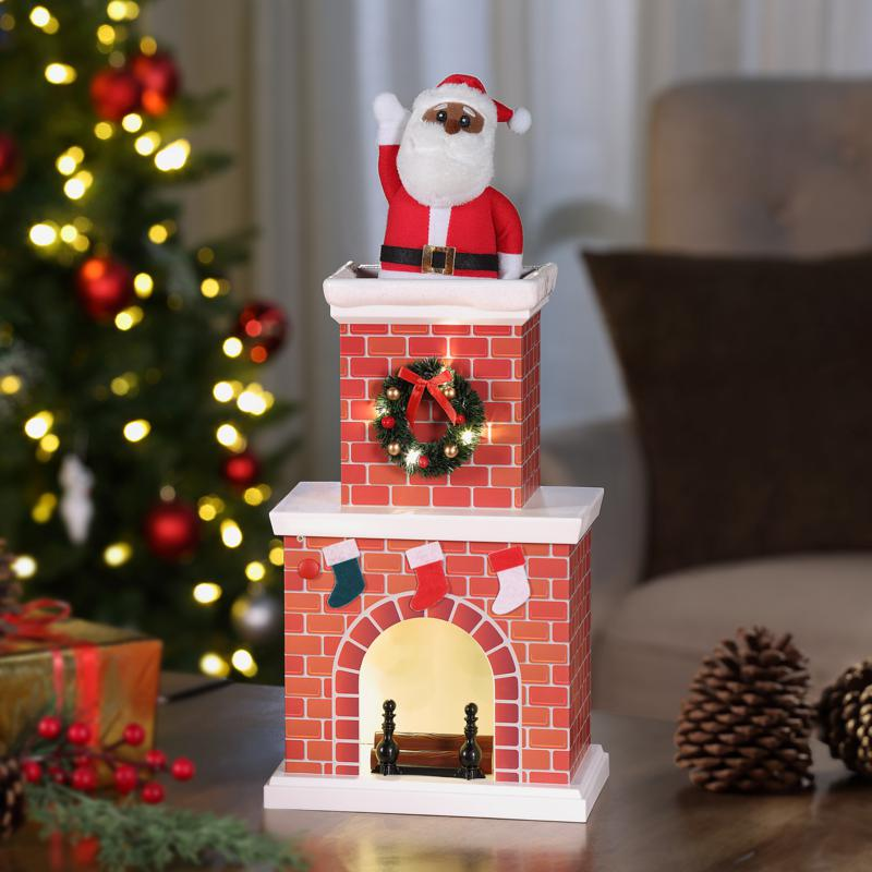 Mr. Christmas Battery-Operated Musical Tabletop Chimney Santa
