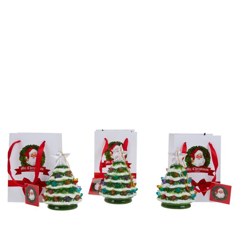 Mr. Christmas Set of 3 Mini Snow-Tipped Nostalgic Trees with Timer