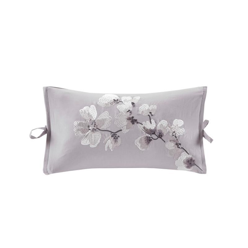 """N Natori Sakura Blossom Embroidered Cotton 12"""" x 20'' Oblong Pillow"""