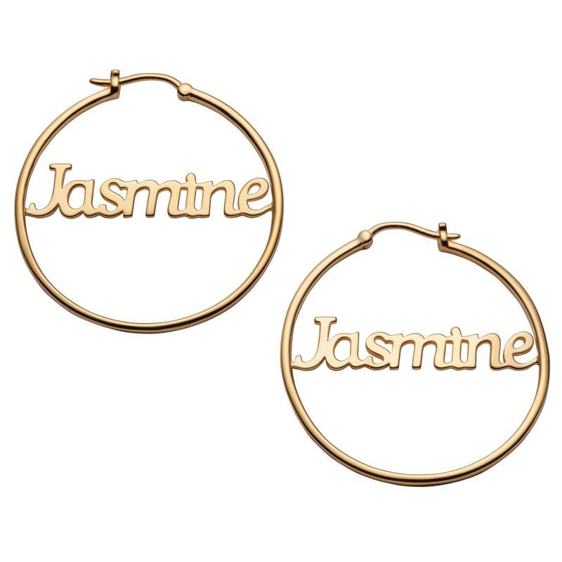 Name Medium 35mm Hoop Earrings