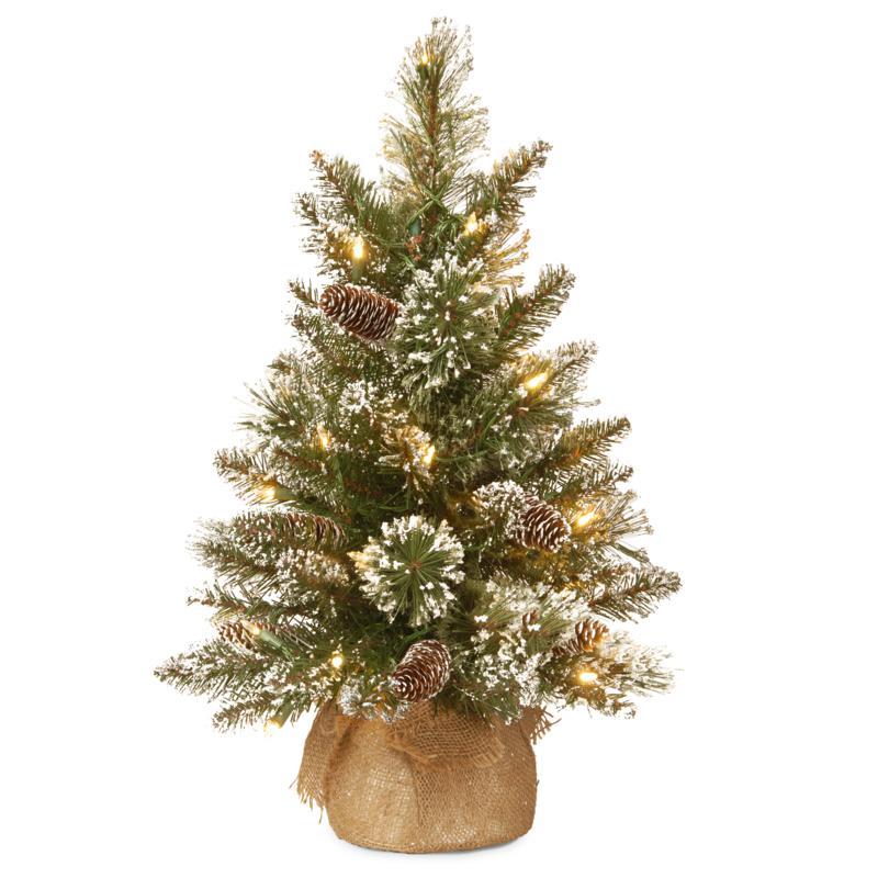 National Tree 2' Glittery Bristle Pine Burlap Tree w 15 WarmWhite LEDs