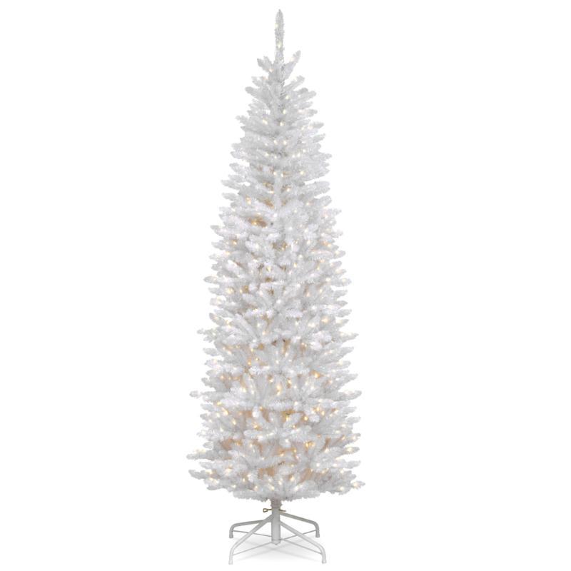 National Tree Kingswood® White Fir Hinged Pencil Tree w/ 250 Lights
