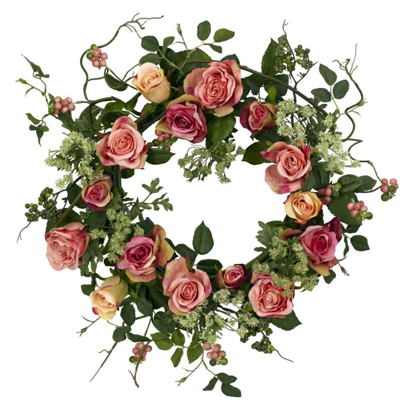 """Nearly Natural 20"""" Rose Wreath"""