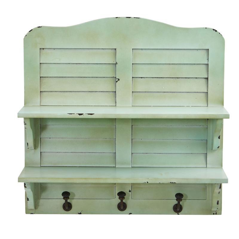 "Nearly Natural 20"" Vintage Window Shutter Shelving Wall Decor w/Hooks"