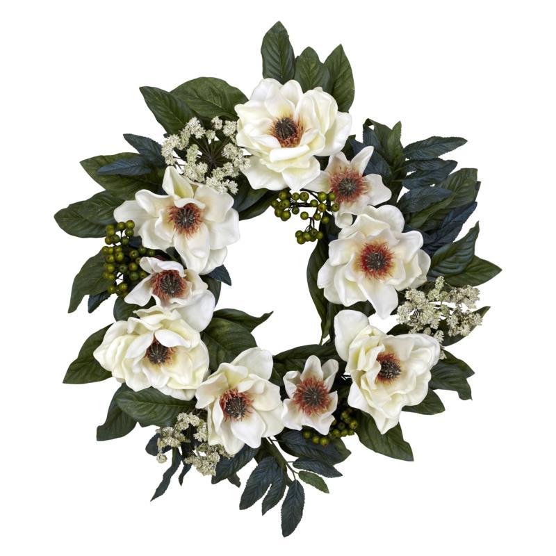"Nearly Natural 22"" Magnolia Wreath"