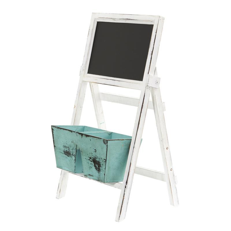 "Nearly Natural 26"" Farmhouse Multipurpose Bin and Chalkboard Stand"