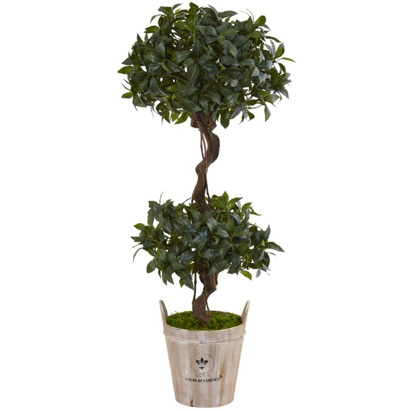 Nearly Natural 4.5' Sweet Bay Double Topiary Tree in Farmhouse Planter