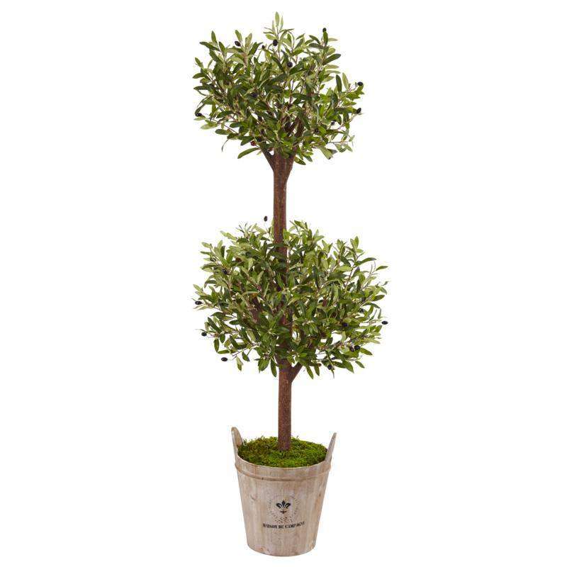 Nearly Natural 5' Olive Tree in Farmhouse Planter