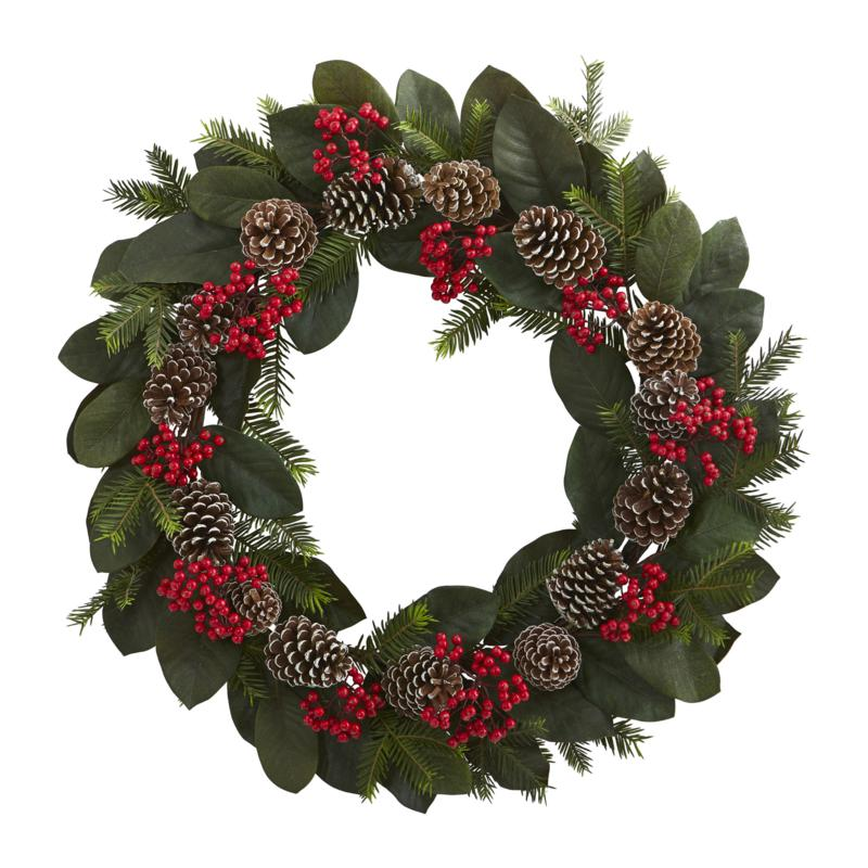 Nearly Natural Magnolia Leaf Berry Pine Pine Cone Artificial Wreath 9707826 Hsn