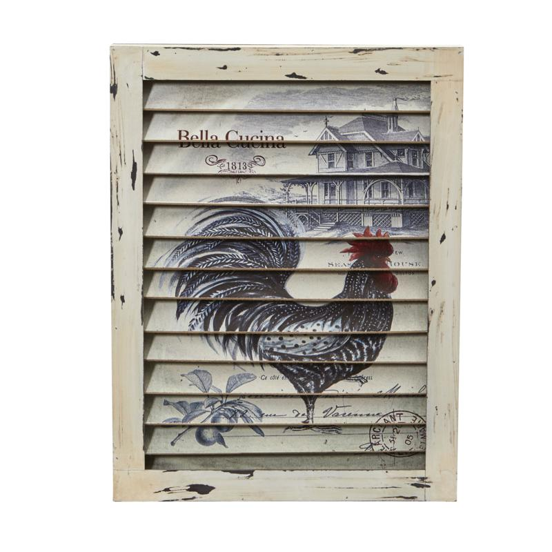 Nearly Natural Rooster Window Shutter Wall Decor