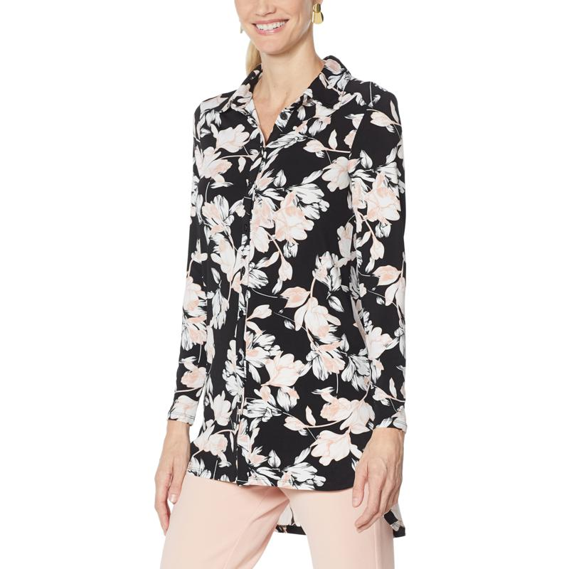 Nina Leonard Printed Matte Jersey Button-Down Tunic