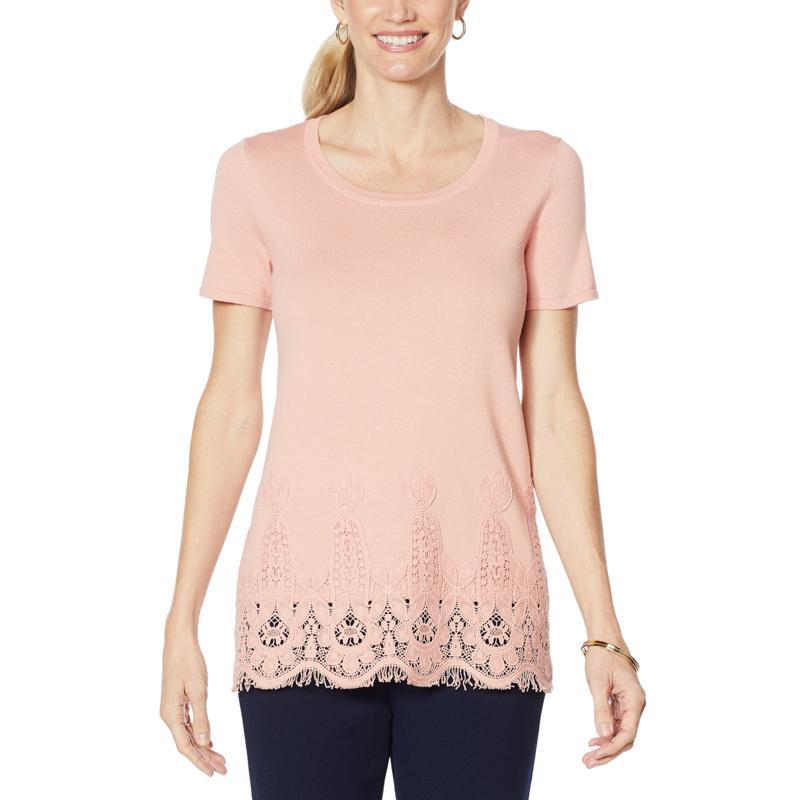 Nina Leonard Sweater Knit Tunic with Lace-Trim Hem