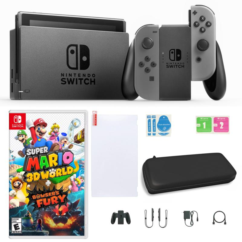 Nintendo Switch Gray with Super Mario 3D World + Bowser's Fury & Accs.