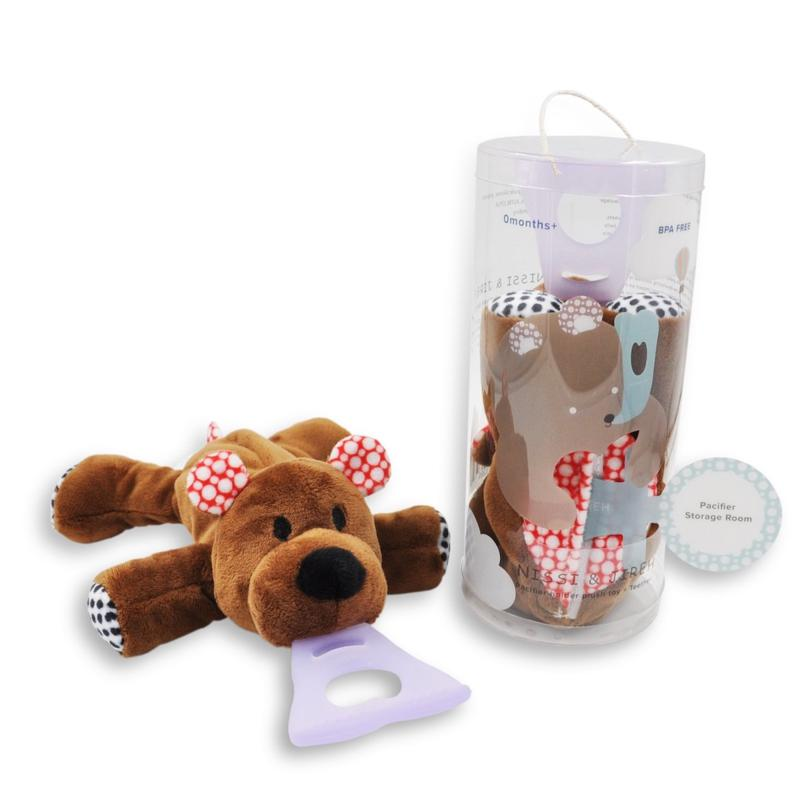 NISSI & JIREH 4-in-1 Universal Pacifier Holder and Teether - Bear