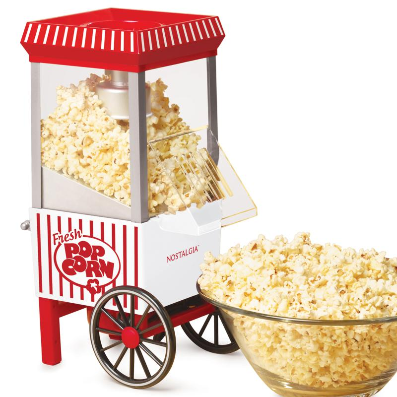 Nostalgia Old Fashioned Hot Air Popcorn Maker in Red/White