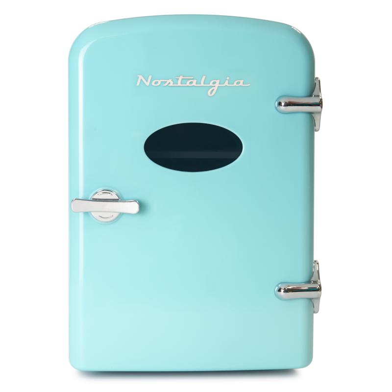 Nostalgia Retro 6-Can Cooling and Heating Refrigerator in Aqua