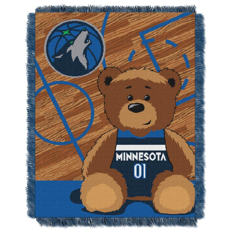 Officially Licensed NBA T-wolves Half-Court Baby Woven Jacquard Throw