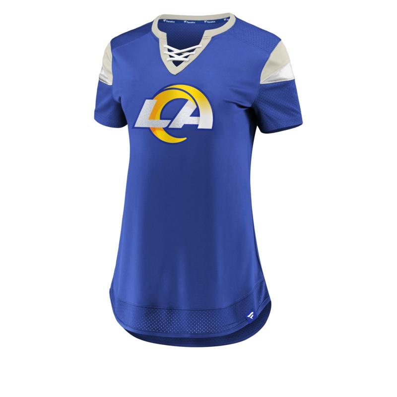Officially Licensed NFL Athena Jersey Lace-Up Tee by Fanatics - Rams