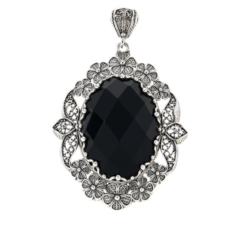 Ottoman Couture Oval Gemstone Floral Filigree Pendant