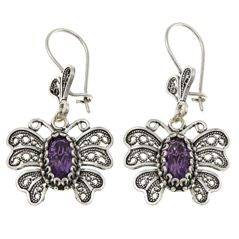 Ottoman Silver 2.8ctw Amethyst Butterfly Filigree Drop Earrings