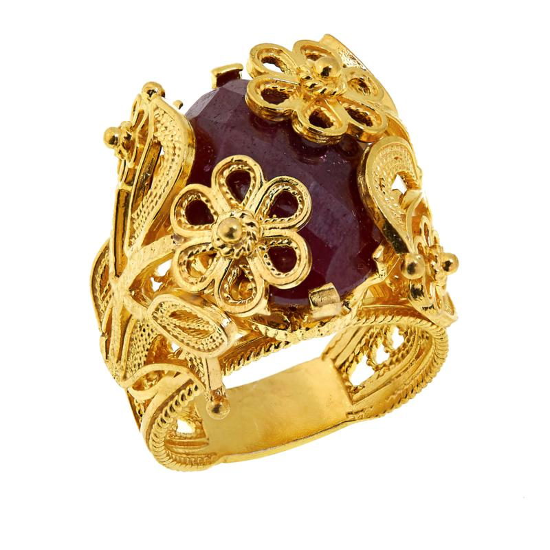 Ottoman Silver Bold Gemstone Wrapped Filigree Ring