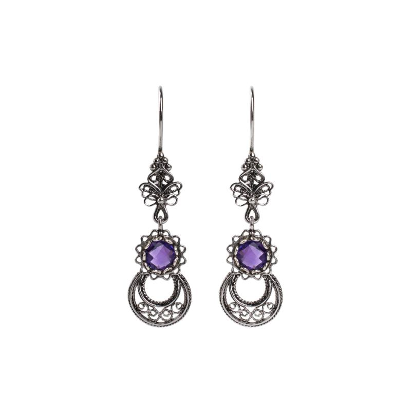 Ottoman Silver Gemstone Filigree Crescent and Star Drop Earrings