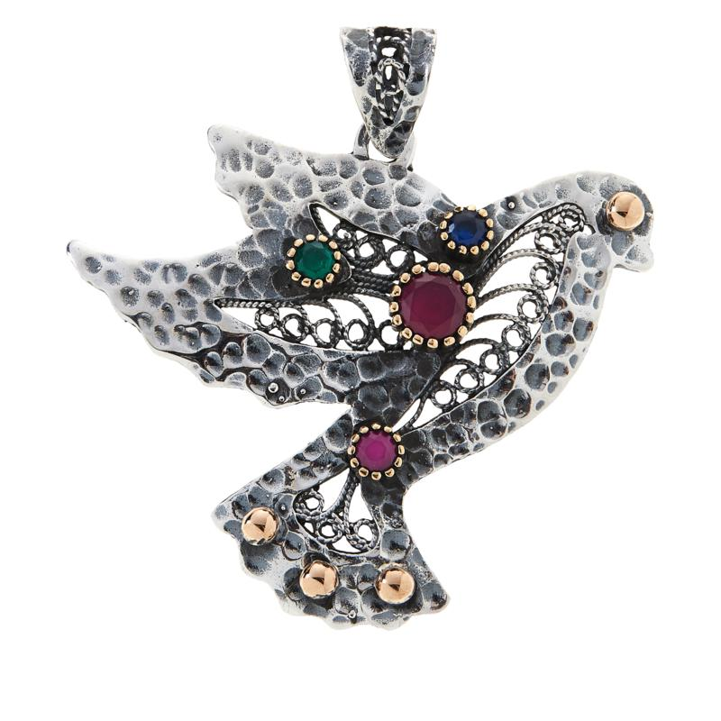 Ottoman Silver Gemstone Filigree Hammered Dove Pendant