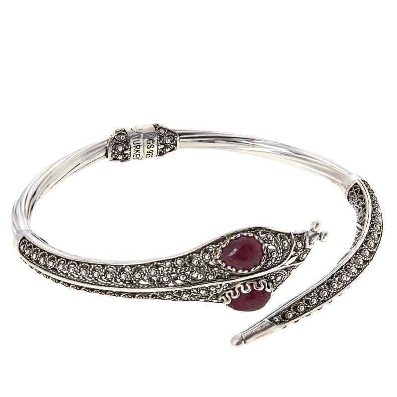 Ottoman Silver Gemstone Hinged Snake Bracelet