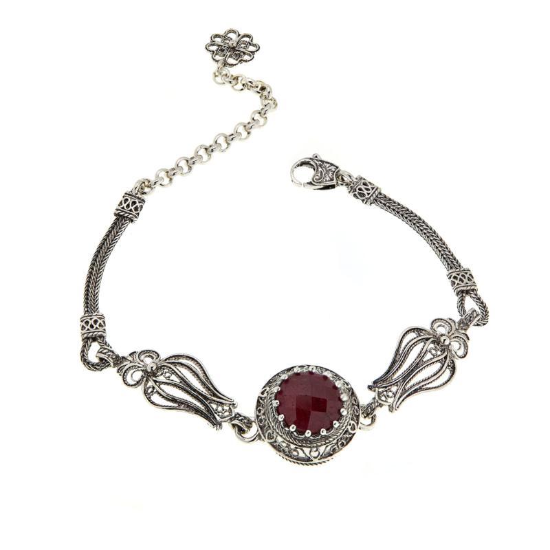 Ottoman Silver Gemstone Station Tulip Design Bracelet