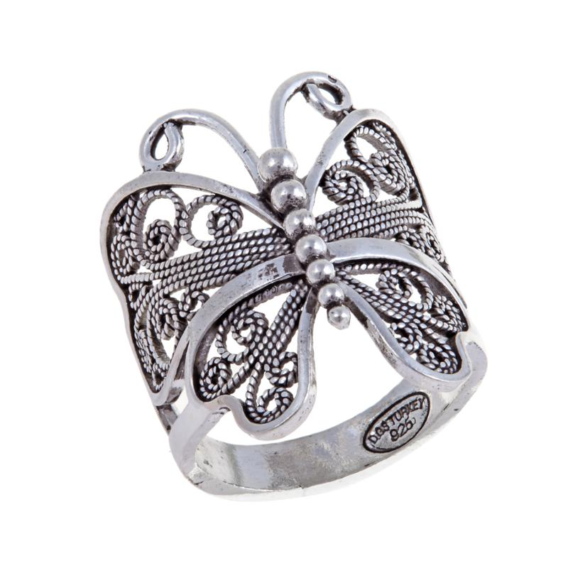 """Ottoman Silver Jewelry Collection """"Butterfly"""" Ring"""