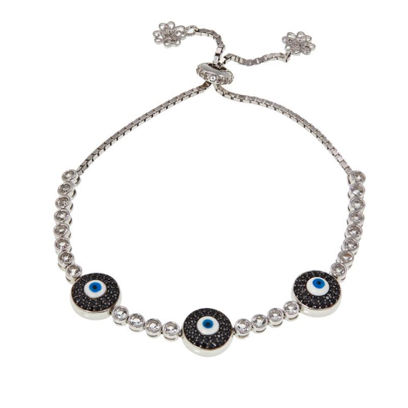 Ottoman Silver White Topaz & Gem Adjustable Triple Evil Eye Bracelet