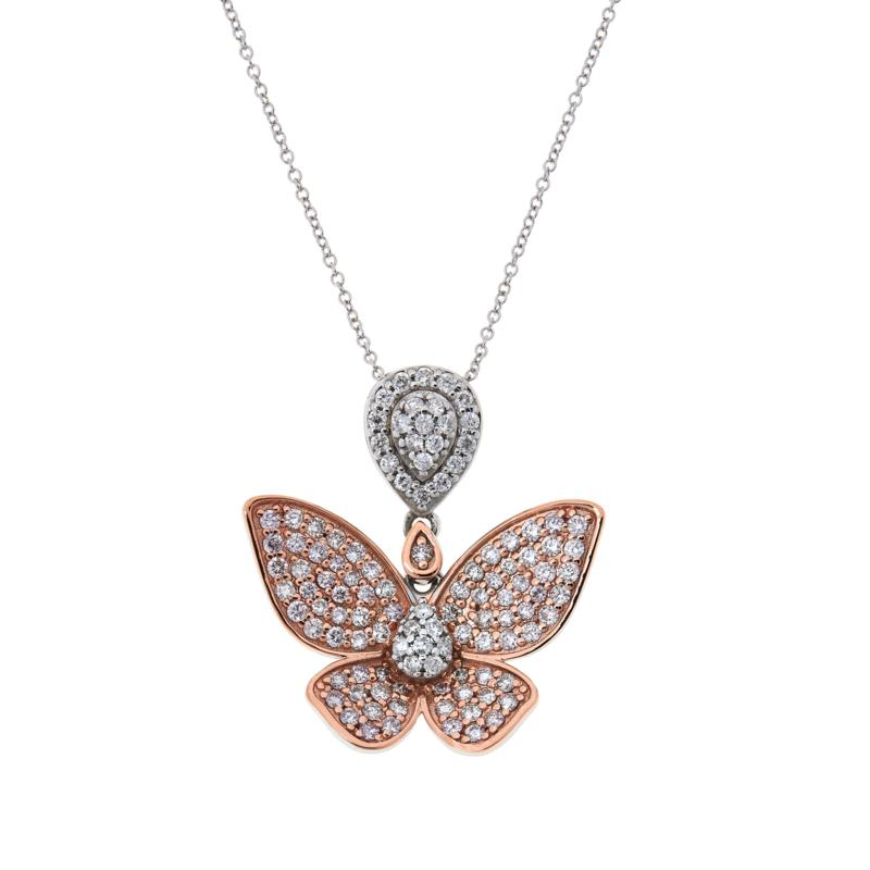Passport to Gems 14K 1.18ctw Pink and White Diamond Butterfly Pendant