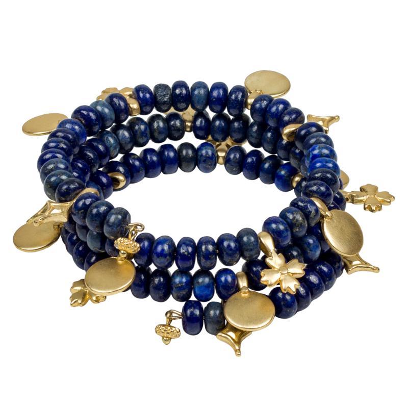 """Patricia Nash Lapis-Color Bead 6-1/2"""" Coiled Charm Bracelet"""