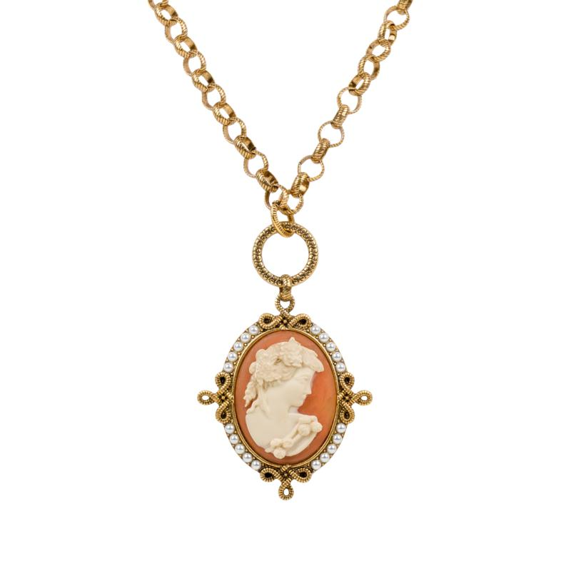 Patricia Nash Simulated Cameo Convertible Necklace