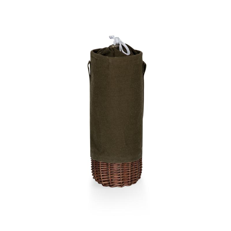 Picnic Time Malbec Wine Bottle Basket - Khaki Green with Beige Accents