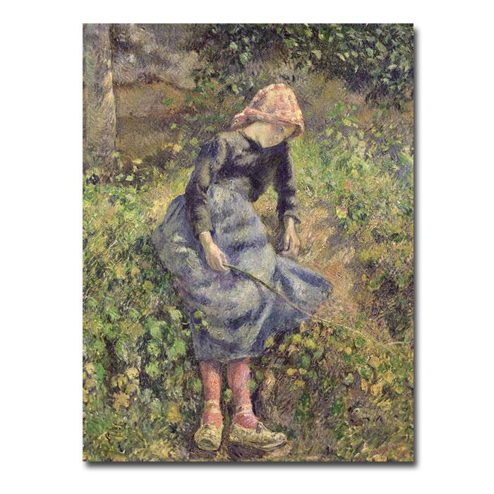 Pissarro 'Girl with a Stick 1881' Canvas Art Print