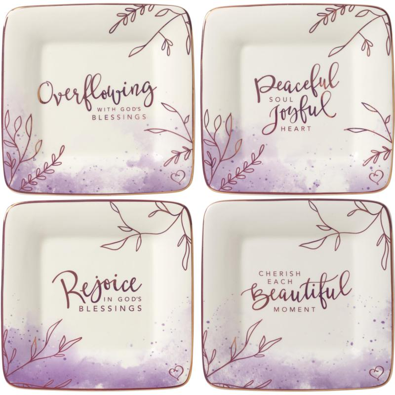 Precious Moments 4-piece Peaceful Moments Ceramic Dessert Plates