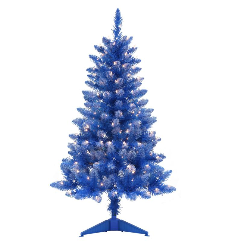 Puleo International 4' Lit Fashion Blue Pine Artificial Christmas Tree