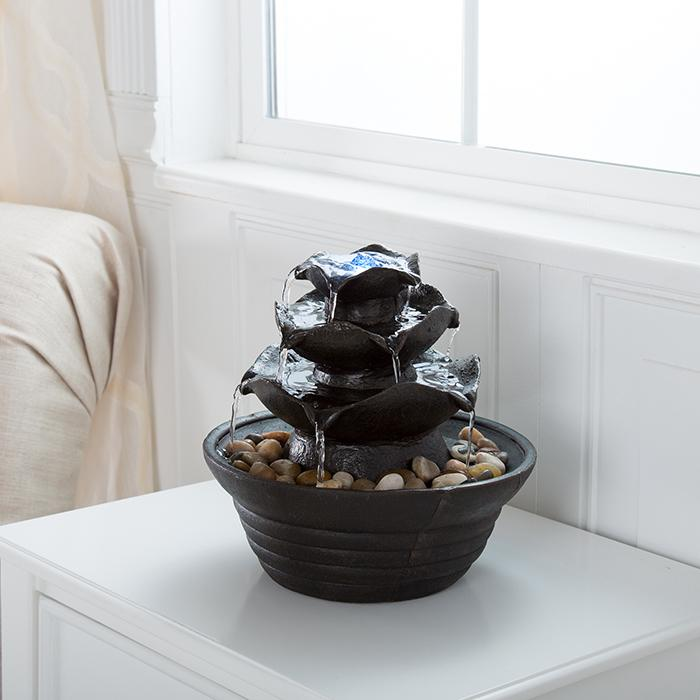 Pure Garden 3-Tier Indoor Water Fountain With LED Lights