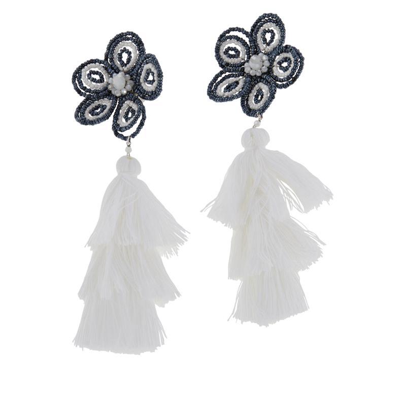 Rara Avis by Iris Apfel Beaded Flower Clip-On Tassel Earrings