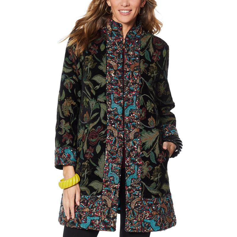 Rara Avis by Iris Apfel Jacquard Coat with Beaded Trim